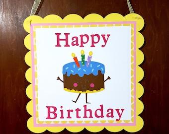 Birthday Door Sign Decoration Welcome Cake