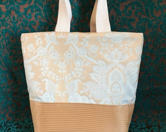 Pale Blue and Tan Demask Style Bag