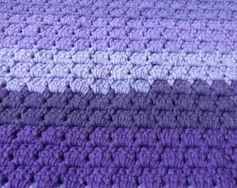 Purple Crochet baby blanket, stroller blanket, security blanket