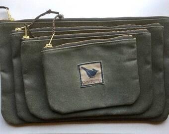 DeHavilland Beaver zipper pouch waxed filter twill canvas, pilot gifts, waxed canvas pouch, aviation gifts, best friend gifts