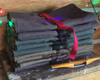 11-pocket waxed canvas tool roll, chisel roll, carving tool roll, tool organizer, tool holder, woodworker's heavy canvas tool wrap