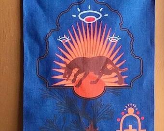southwestern decor, linen tea towel, housewarming gift, chupacabra, bigfoot gifts, extraterrestrial, boho, flying saucer, chupacabra