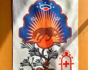 southwestern decor, linen tea towel, dish  towel, housewarming gift, chupacabra, extraterrestrial, boho, flying saucer, chupacabra