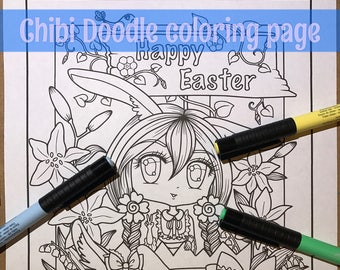 Chibi Doodle Easter Bunny Rabbit Anime Manga Character Coloring Page for Adult Coloring PDF download by JennyLuanArt