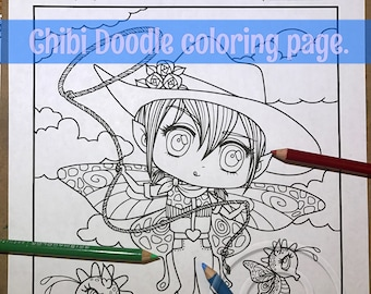 Chibi Doodle Cowgirl Rodeo Fairies Anime Manga Coloring Page for Adult Coloring PDF download by JennyLuanArt