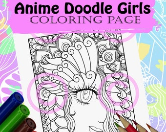 Anime Doodle Girl Coloring Page for Adult Coloring Butterfly Eye Lashes Girl in anime Tangle style