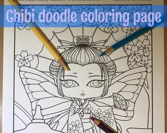 Chibi Geisha fairy in Kimono dress Doodle Anime Manga Coloring Page for Adult Coloring PDF download by JennyLuanArt