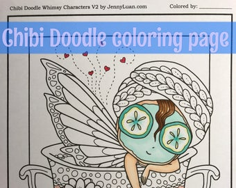 Number one Mom Chibi Doodle Fantasy Anime Manga Coloring Page for Adult Coloring PDF download by JennyLuanArt
