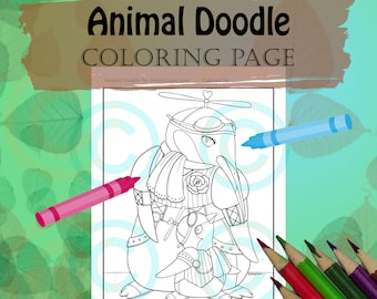Animal Doodle Coloring Page for Adult Coloring PDF download steampunk penguin mommy and baby