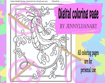 Seahorse Dragon Coloring Page For Adult PDF Download By JennyLuanArt