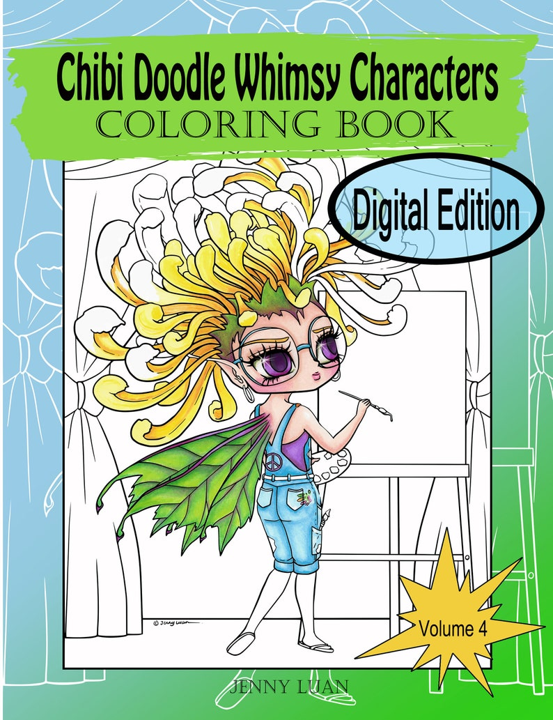 Digital Edition Chibi Doodle Whimsy Characters Coloring Book image 0