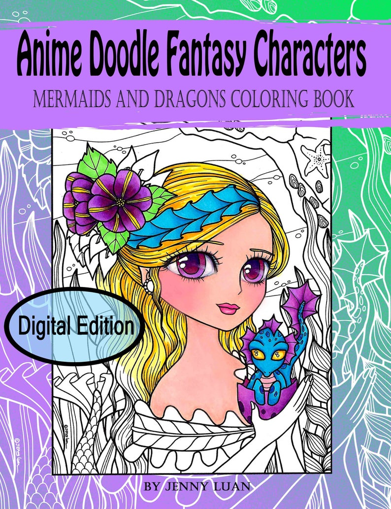 Digital Edition Anime Doodle Fantasy Characters mermaids and image 0