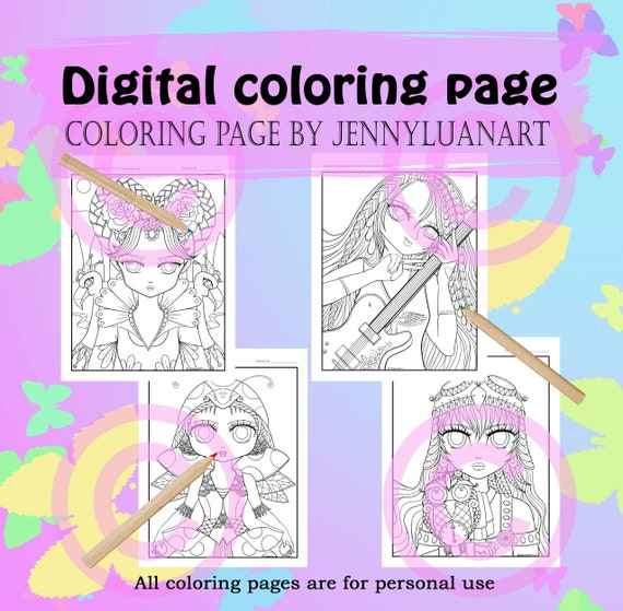 Anime Doodle Girls Coloring Pages Pdf Download By Jennyluanart Etsy