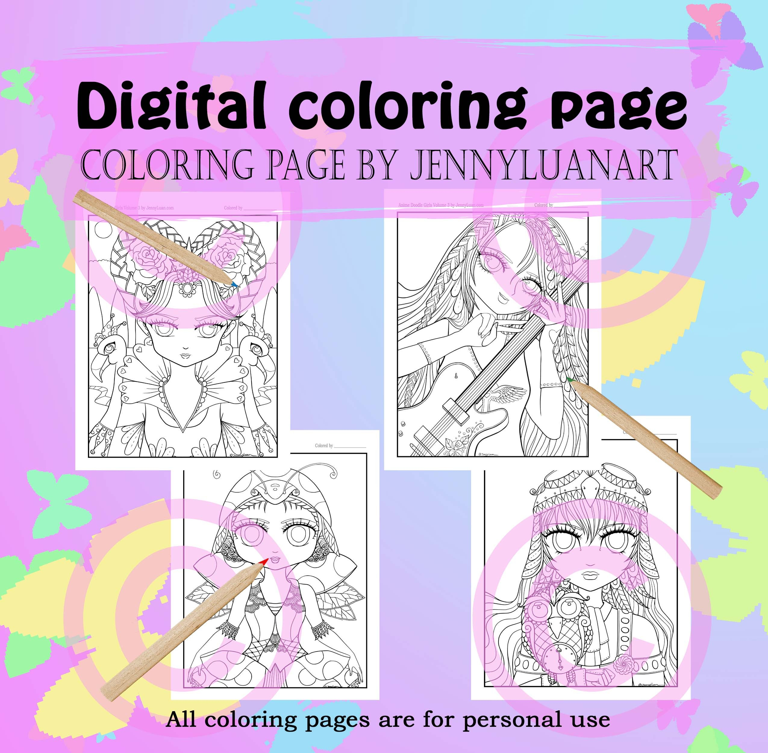 Anime Doodle Girls Coloring Pages PDF download by JennyLuanArt | Etsy