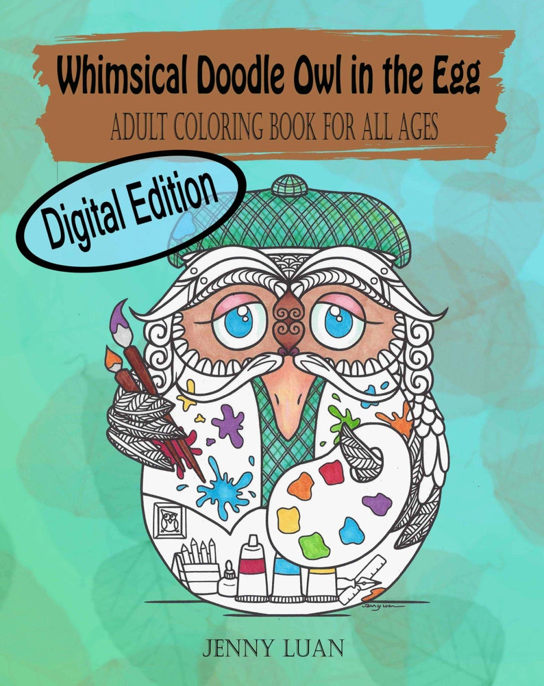 Digital Edition Whimsical Doodle Owl in the egg Adult Coloring image 0