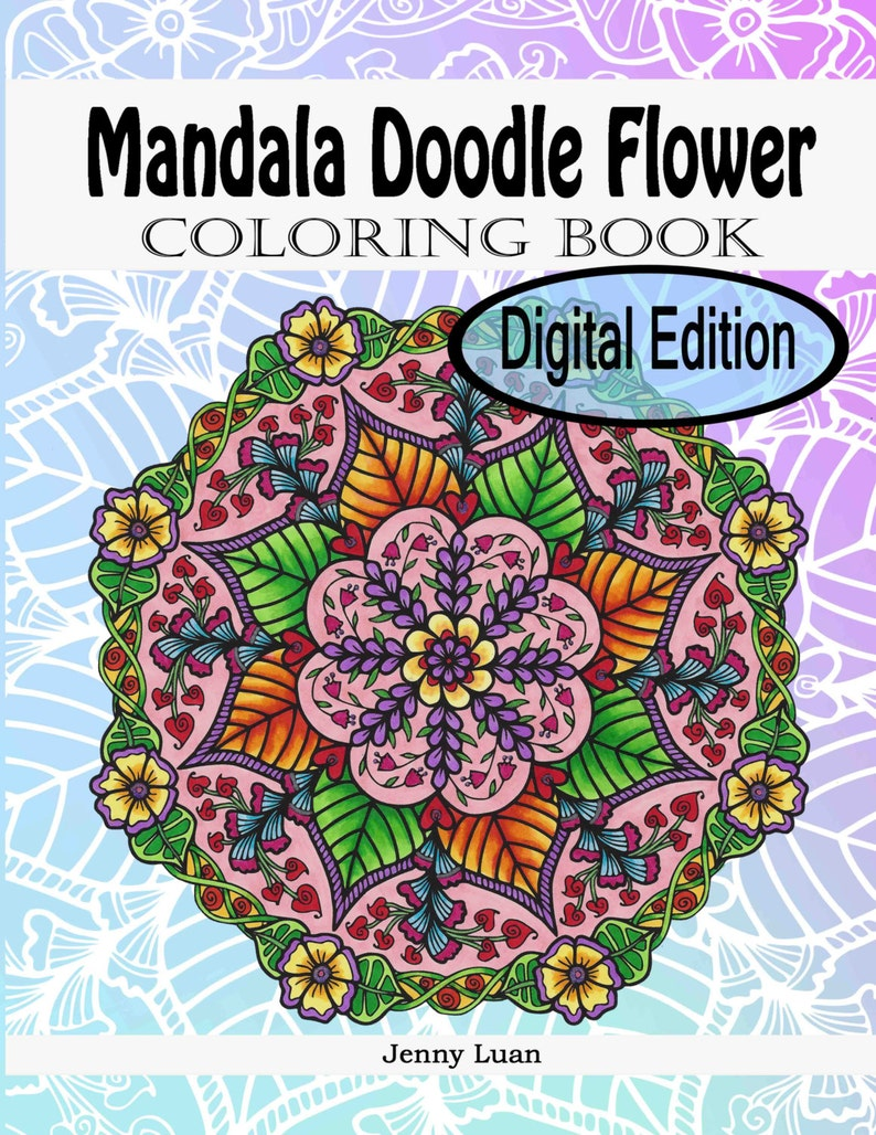 Digital Edition Mandala Doodle Flower Coloring Book for adult image 0