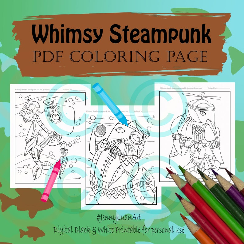 Steampunk Sea Life Coloring Page for Adult Coloring PDF image 0