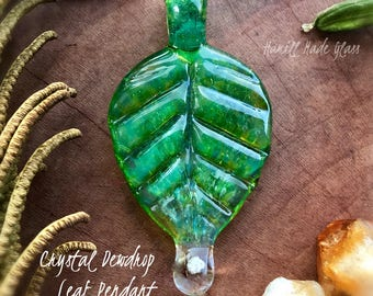 Crystal Dewdrop Birch Leaf With Herkimer Diamond Glass Pendant Or Necklace; Leaf Jewelry; Leaf Necklace; Crystal Pendant; Handblown Glass