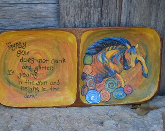 Wooden Bowl With Gypsy Horse Quote