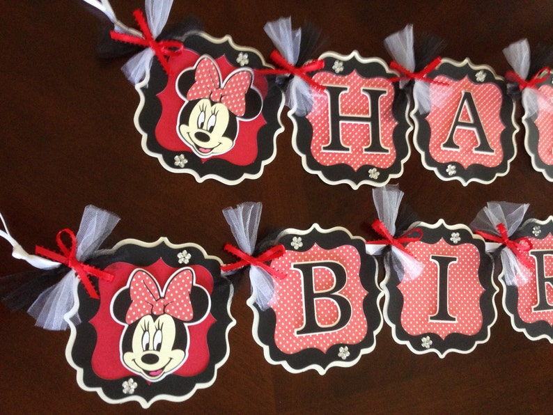 Minnie Mouse Party Decorations Red Black White Minnie Mouse Etsy