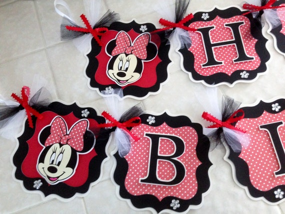 Minnie Mouse Party Decorations Red Black White Minnie Mouse Banner Personalized Minnie Mouse Banner Red White Polka Dots Black White