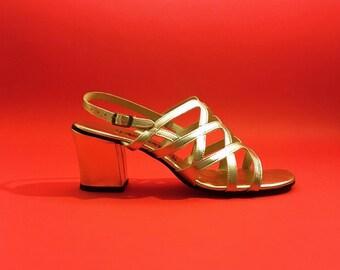 0ce620c4b823 vintage 60s gold metallic strappy sandals block heel fascinators 6