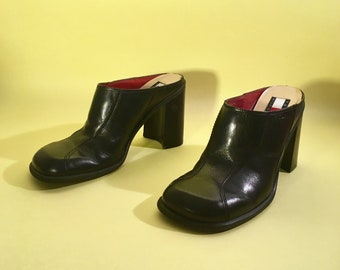 5d22dbba5 90s vintage tommy hilfiger mules black leather clogs chunky block heel 7.5
