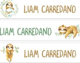 Sloth Waterproof Name Labels Kids Labels Daycare Labels Bottle Labels Boy Labels Clothing Labels School Labels Waterproof Label Camp Animals