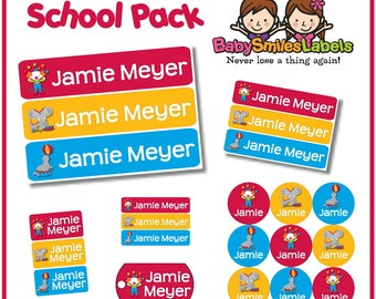 Personalized Waterproof Labels Shoe Labels Clothing Tag Labels Bag Tags Daycare Labels Name Labels School Pack Circus