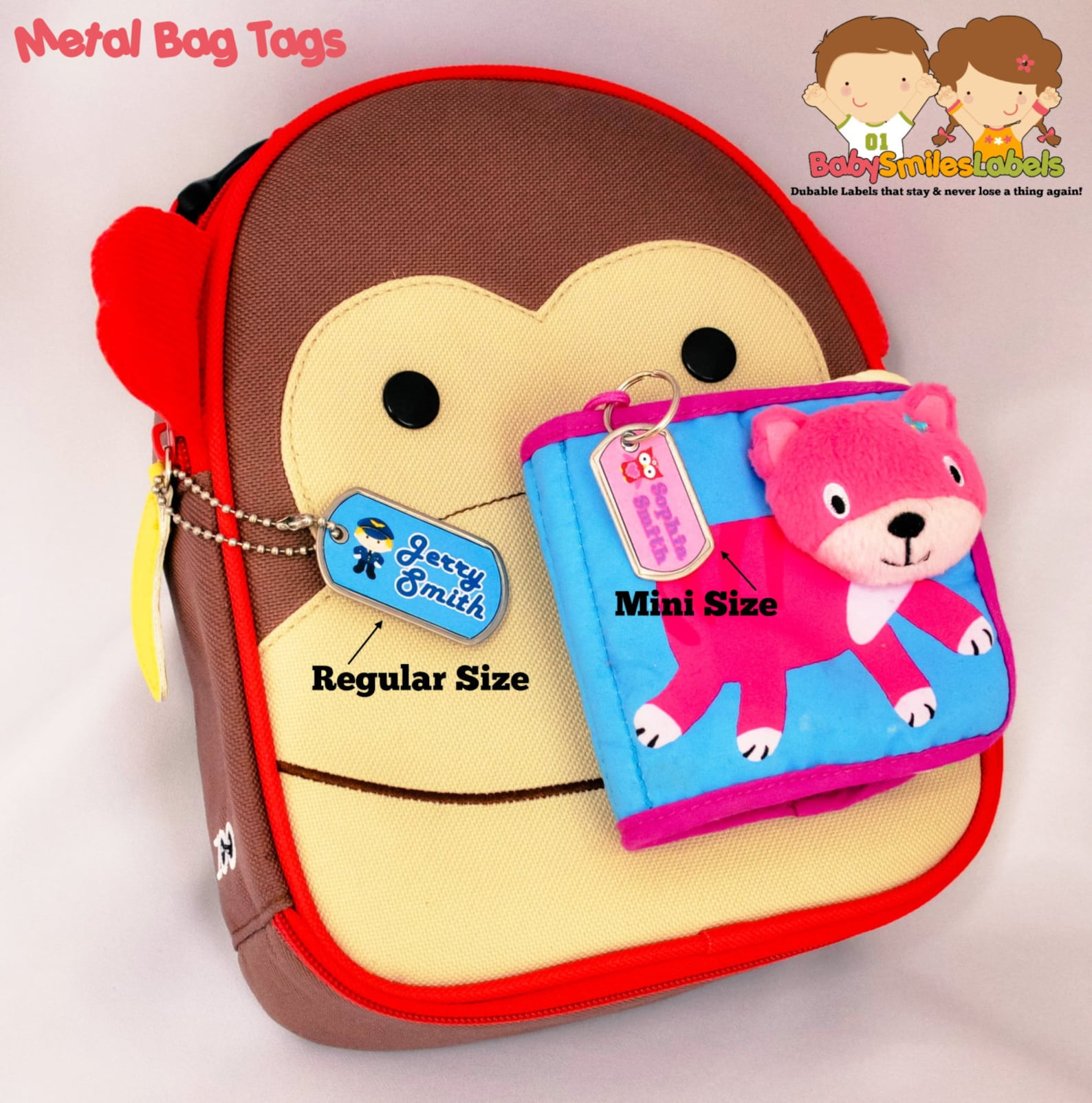 school pack - personalized waterproof labels shoe labels clothing tag labels bag tags daycare labels name labels - monkey ballet