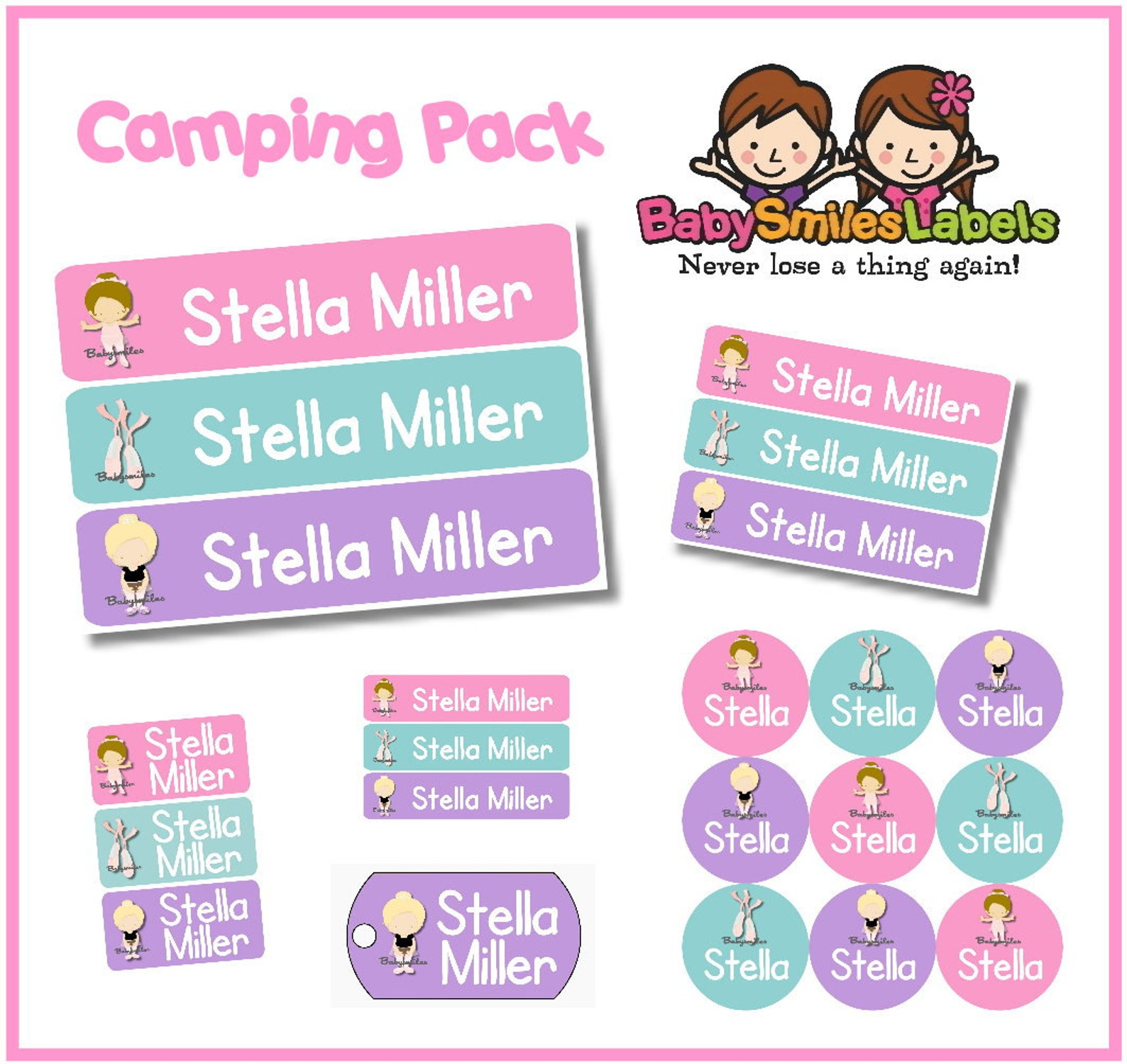camp pack - personalized waterproof labels shoe labels clothing tag labels bag tags daycare labels name labels - sweet ballet