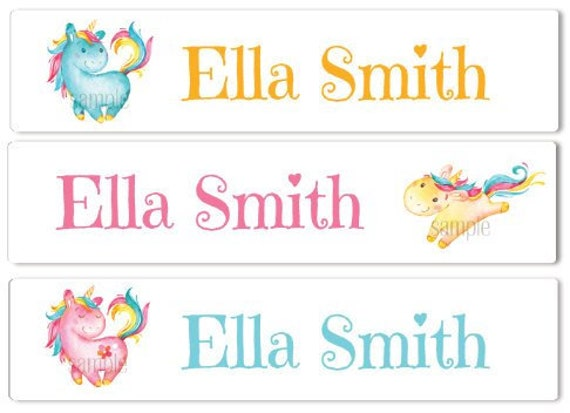 Waterproof Name Labels School Name Labels Girl Labels Clothing Labels  Daycare Labels Kids Labels Sippy Cup Labels Dishwasher Safe Unicorns