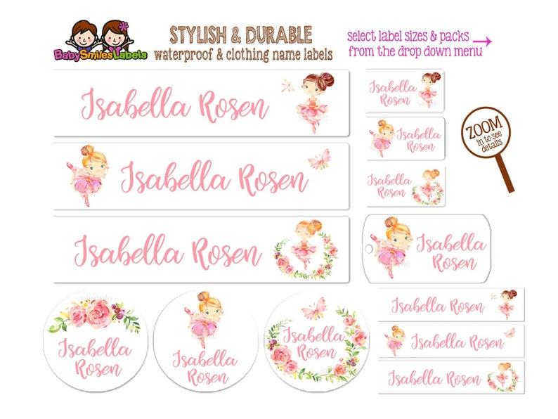 Ballerina Waterproof Name Labels Kids Labels Daycare Labels Bottle Labels Girl Labels Clothing Labels School Labels Waterproof Labels Ballet