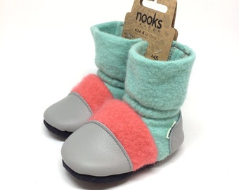 "Nooks booties, toddler footwear, toddler size US 4 / 6 - 12m / 4.5"" length slip-on style"