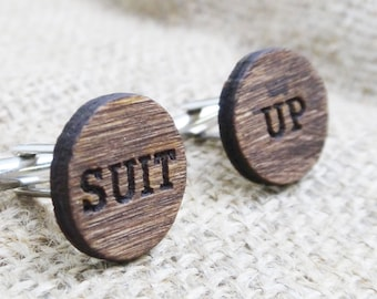 Suit Up Cufflinks HIMYM Wood Cuff Links  Engraved Wood Cufflinks - Best Man Gift Proposal Groomsmen Proposal Gift for Guys Personalized