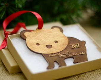 Personalized Baby's First Christmas Ornament Personalized Ornament Gift for New Moms Newborn Rustic Wood Ornament Keepsake Ornament Gifts