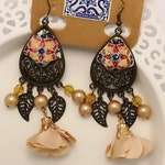 Long Dangle Earrings in Beige colors with Portuguese Ceramic Paint replica.