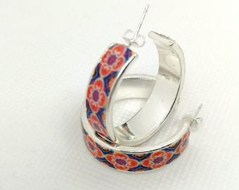 Jewelry silver Plated Smooth Circle Earrings,Flat hoop earrings,Women Accessories, Best women  Gift,red tile replica