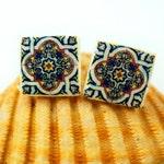 Post earrings, Portuguese tile replica Jewelry.