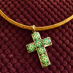Necklace Reversible cross with metal base and green Portuguese Tile Replica.