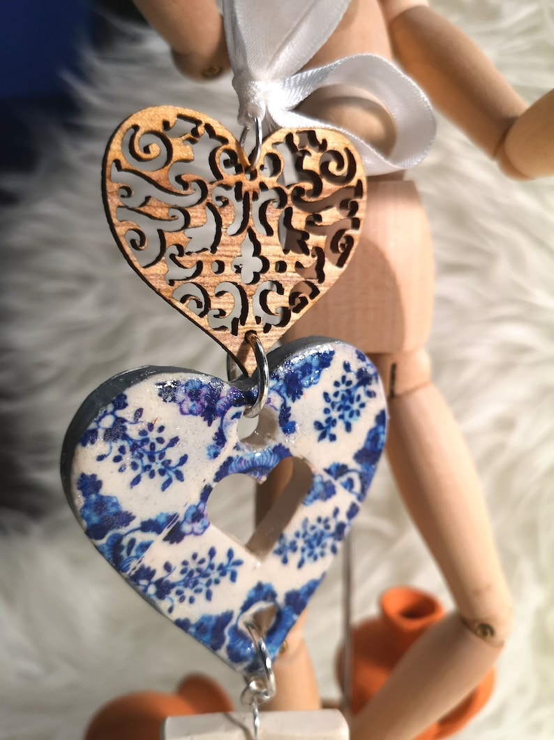 Handmade heart Christmas ornament blue and white colors. image 0