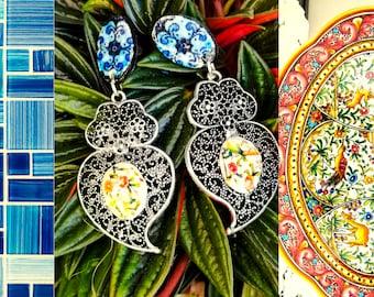 Filigree heart dangle earrings, replica of handmade paint, antique Portuguese tile, stylish jewelry for elegant women