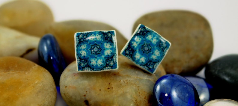Little Earrings miniature Portuguese Tile in turquoise color. image 0
