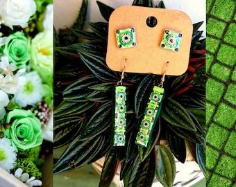 Green Long Bar Stud Earrings Set of Two Earrings, Lightweight Minimalist Jewelry Women Fashion, Everyday Wear Jewelry