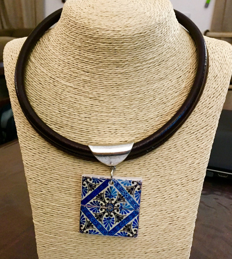 Reversible Choker with antique  portuguese tile. image 0