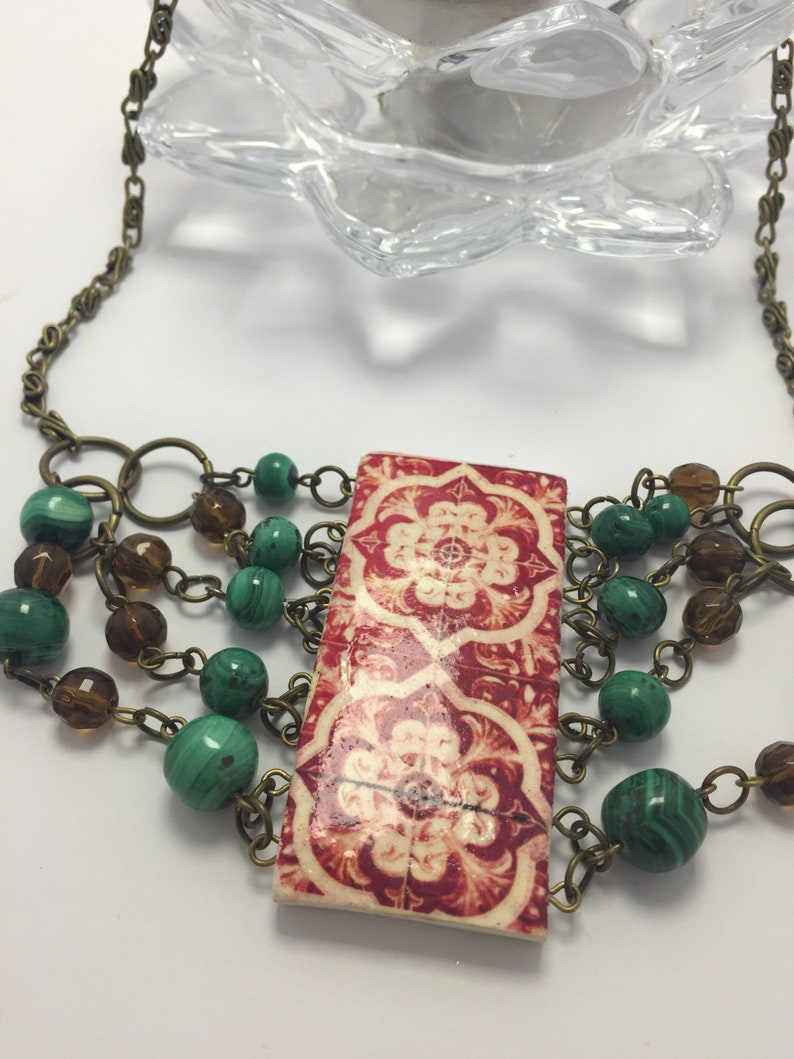 Portuguese Jewelry Big Necklace with Antique portugues tile. image 0