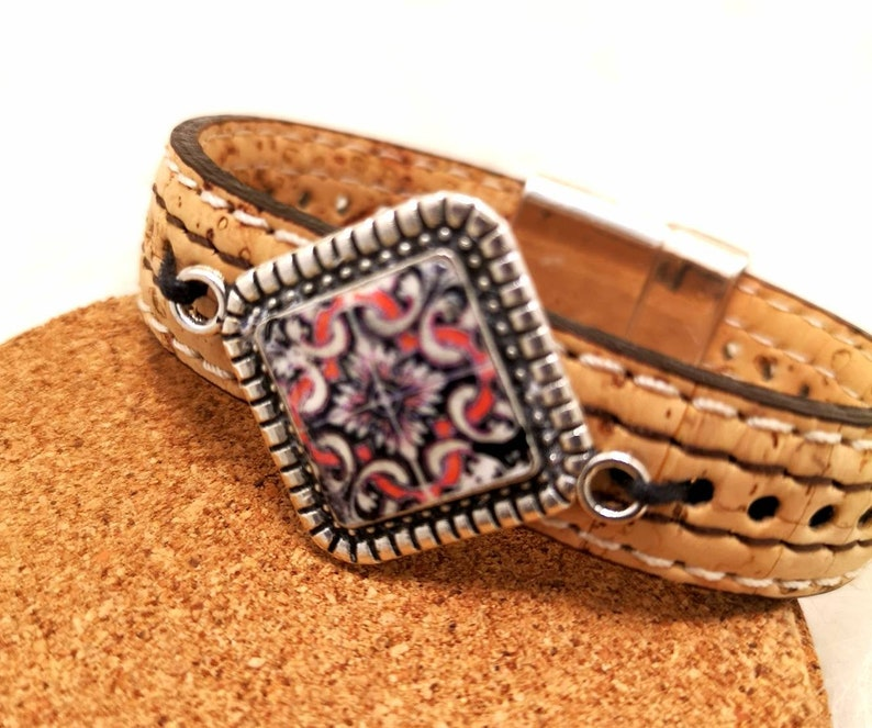Natural cork bracelet with metal piece and portuguese tile image 0
