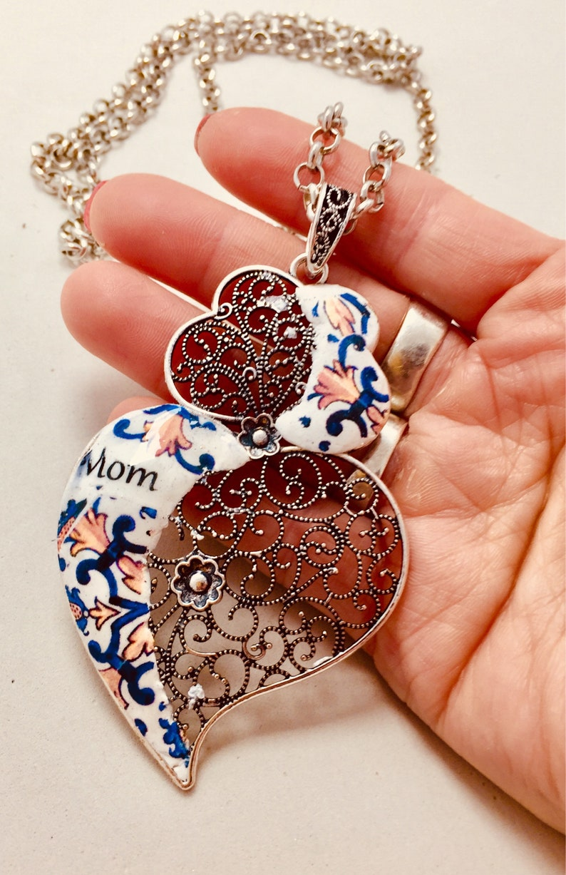 Big Portuguese Heart for Mom beautiful necklace with image 0