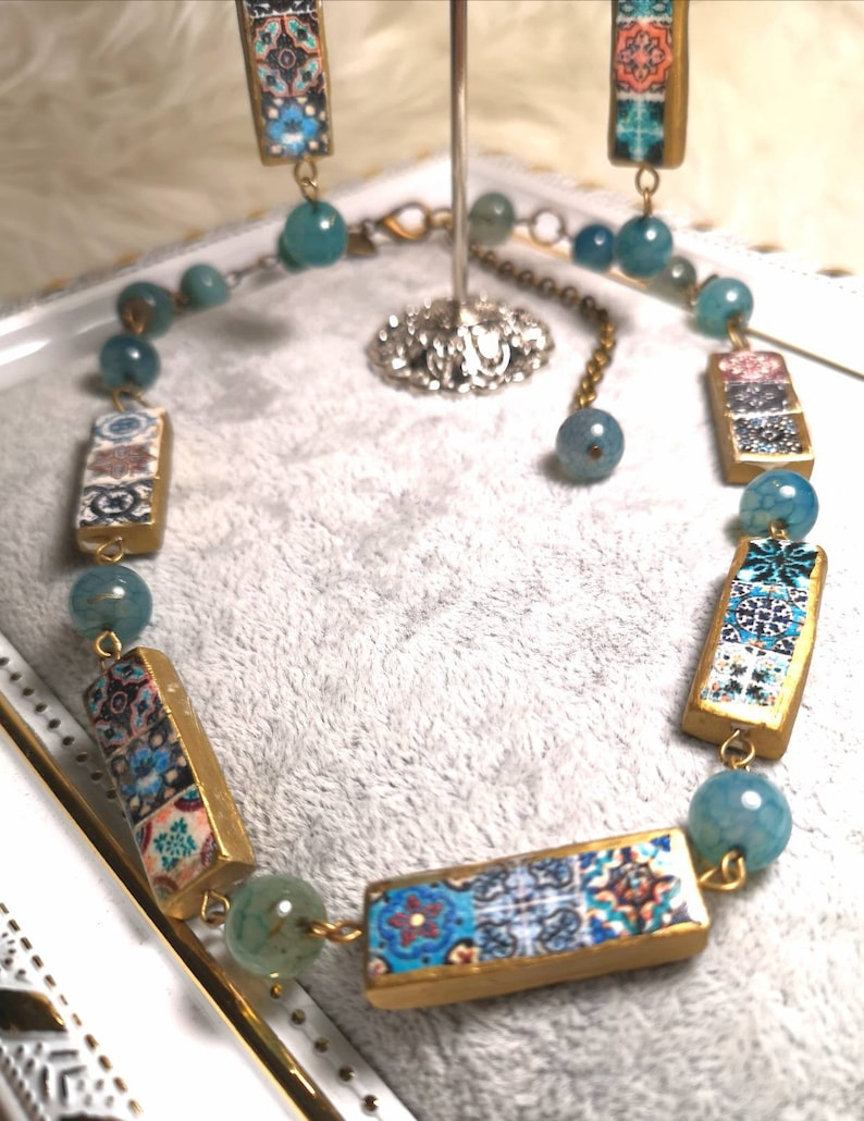 Beautiful set of choker and earrings with miniatures of tiles image 0