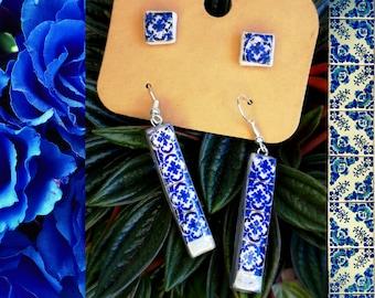 Modern Jewelry Set, Fine Bar Earrings, Square Post Earrings, Women Teenager jewelry, Unique Pieces, Girlfriend gift